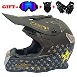 Yedina Jugend Motocross Helm MX Motorcycle ATV Roller voll Helmet Helmet Helmet D.O.T Certified Black, Goggles Handschuhe Maske (S, M, L, XL),L