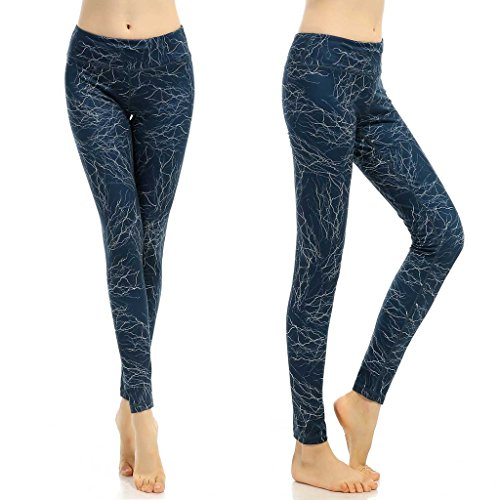 phennie Damen Workout Leggings Hohe Taille Stretch Sports Laufen Joggen Yoga Pants xl Lightning Navy Blue (Sexy Camo Outfits)