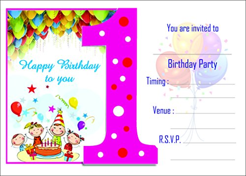 Birthday Invitation Card on Metallic Sheet (Pack of 50 Cards) NBC-001