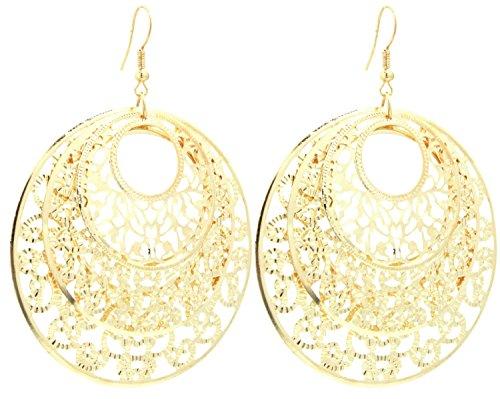 2LIVEfor Statement Ohrringe lang hängend Silber Gold Ohrringe Ethno in Tropfenform verziert Ohrringe Bohemian Vintage Ohrhänger Sehr Lang Groß Rund Ornamente Blatt Blätter (Gold)