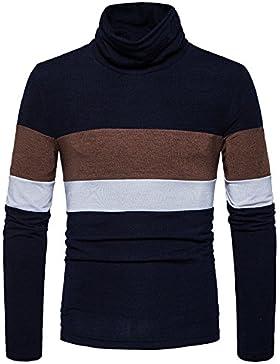Riscaldare il fondo camicia colletto alto uomini maglione stripe set e Sau leisure, nero ,M