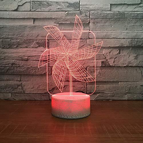 YDBDB 3D Led 7 Farbe Luminous Big Pinwheel Usb Nachtlicht Gradient Schreibtischlampe Schlafzimmer Nacht Frohe Weihnachten Wohnkultur Geschenke -