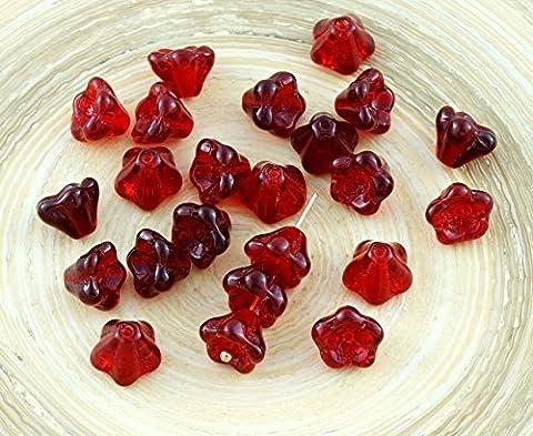 Crystal Dark Red Czech Glass Bell Flower Beads Flower Bead Caps 7mm x 8mm 20pcs
