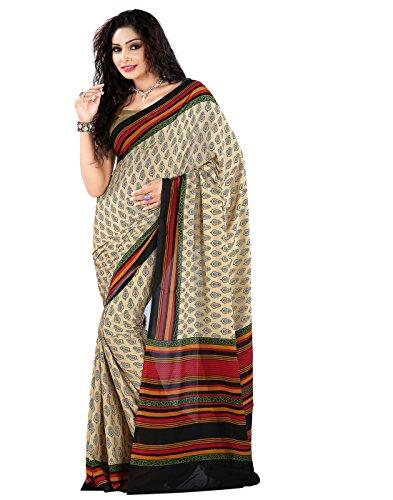 Roopkala Silks & Sarees Crepe Saree (Dv-812_Beige)
