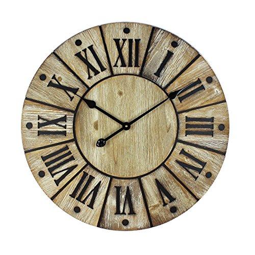 Große Hometime MDF Holz Look Runde Wanduhr römischen Ziffern 60cm (Avon Holz)
