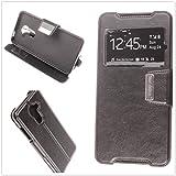 MISEMIYA - Hüllen Taschen Schalen Skins Cover für Vodafone Smart Platinum 7 - Hüllen, Cover View Unterstützung, Schwarz