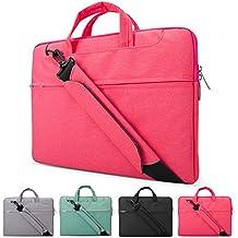 Lacdo 11–15,6Pulgadas Portátil Bolsa de hombro/maletín, resistente al agua tela funda para ordenador portátil/ordenador portátil funda de transporte para Apple MacBook Air Pro Ultrabook multicolor rosa 13-13,3 pulgadas