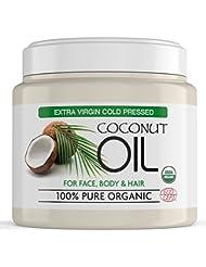 Huile de Coco Extra Vierge 100 % Bio Pure – Crème Hydratante de Corps pour Tous Types de Peau, Réduit les Signes de Vieillissement et l'Apparition de Rides et Cernes 500ml
