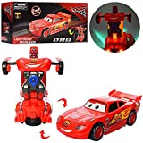 Jiada Transformer McQueen Car Toy with Convertible Robot with Lights, Music & Bump & Go Function