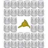 Viva-Haushaltswaren - 32 piccoli vasetti per conserva con coperchio bianco, forma esagonale, 47 ml, piccolo imbuto incluso