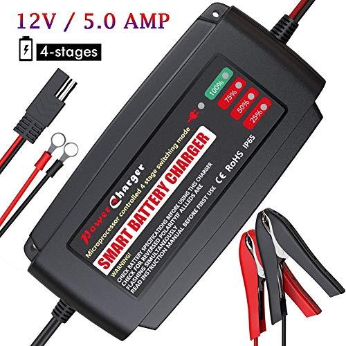 BMK Batterieladegerät Auto 12V 5A Batterie Ladegerät Auto IP65 wasserdichte Tragbar Vollautomatisches Ladegerät Erhaltungsladegerät mit Mehrfachschutz für KFZ Auto Motorrad Boot Rasenmäher -