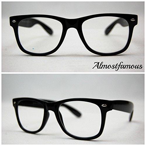 Classic schwarz Nerd Geek Wayfarer Retro Geek Vintage Wayfarer Brille Nerd Frame Fashion Schwarz Clear Lens UK