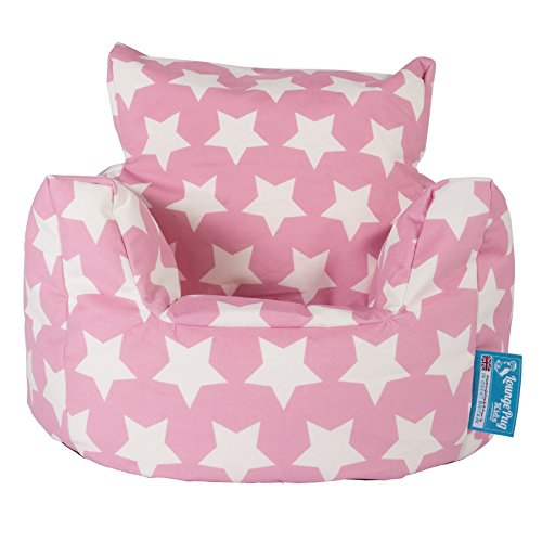 Lounge Pug, Kindersessel Sitzsack, Sitzsack Kinder, Druck Pink Star
