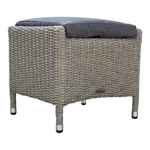 dasmöbelwerk Milano Poly Rattan Garten Hocker Sitzhocker Fußhocker komplett montiert Grau