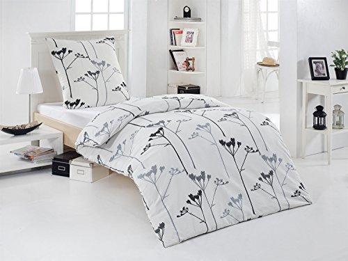 2-tlg Seersucker Bettwäsche weiss/grau 100% Baumwolle, 1x 155x220 Bettbezug + 1x 80x80 Kissenbezug , Öko-Tex Standart 100