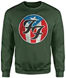 Unisex-Sweatshirt Foo Fighters America Texture - Set-In Sweatshirt LaMAGLIERIA, L, Verde