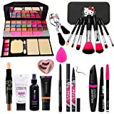Rupali 7pcs Makeup Brush Set With Tya Makeup Kit, 3d Contour Stick, Primer, Fixer, Kajal, Waterproof 36h Sketch Eyeliner, Eye