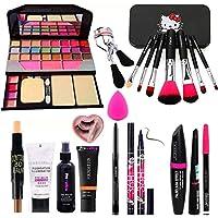 Rupali 7pcs Makeup Brush Set With Tya Makeup Kit, 3d Contour Stick, Primer, Fixer, Kajal, Waterproof 36h Sketch Eyeliner…
