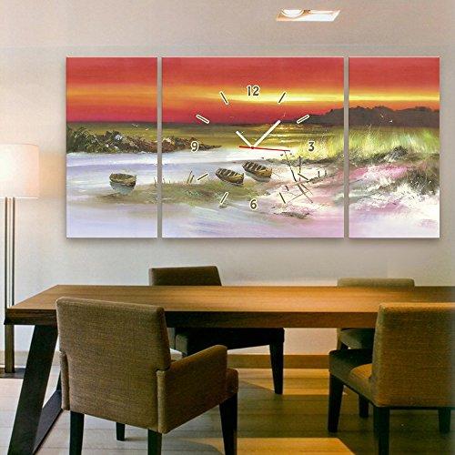 CXQWAN Kreativ Dekoration Rahmenloses Gemälde Uhren Wohnzimmer Wohnzimmer Esszimmer Kinderzimmer Wandbild Hängendes Gemälde (Strandboot),40*80cm*2+80*80cm*1
