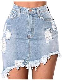 cdf9762163 Yudesun Minifalda Apretada Falda Vaquera Mujer - Mujeres Cintura Alta  Vaqueros Faldas Rasgada Mezclilla Corto Falda