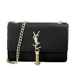FXTKU 2018 Damen Sommersaison Quaste Weibliche Tasche Paket Kette Umhängetasche Mini-Tasche Handtasche (Groß, Schwarz 1)