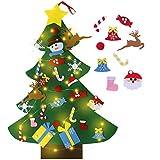 Nabance Fieltro árbol de Navidad DIY con 26 Adornos Navideños y Luces Desmontables Colgando Kit de Decoración de Navidad Decoración de la Pared en Casa Lindo DIY Niños árbol de Navidad