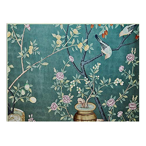 Square Modern Soft Flannel Blue China Style Bird Flower Rug, Anti Slip Underlay Carpet for Hard Floors Livingroom Bedroom Bedroom Baby Kids Playmat (Multi-Size),80×160cm