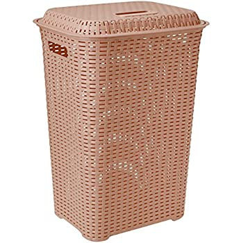 Cello Eliza Plastic Laundry Basket, 50 Liters, Brown
