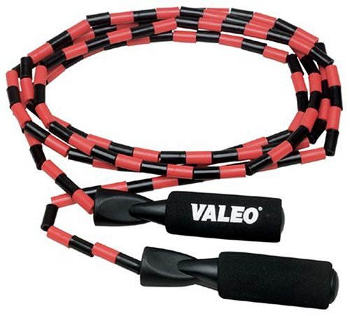 Valeo Beaded Jump Rope, Adjustable 9-Foot Length With Durable Plastic Beaded Nylon Rope And Molded Handles With Foam Grips by Valeo