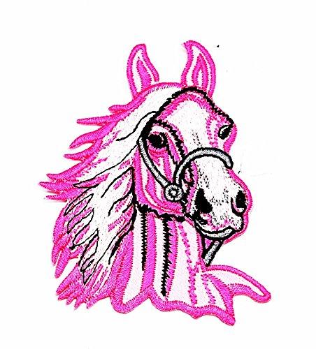 Pferd Kostüme Cowboy Reiten (rabana Pink Pferd Kopf Reiten Farm Cartoon Kids Kinder Cute Animal Patch für Heimwerker-Applikation Eisen auf Patch T Shirt Patch Sew Iron on gesticktes Badge Schild)