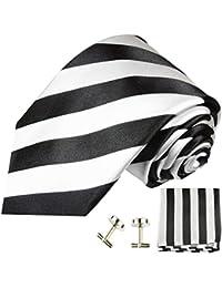 Paul Malone Cravatta di seta + fazzoletto + gemelli (Lunghezza normale, extra lunga o stretta) strisce bianche e nere