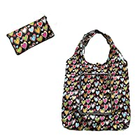Waterproof Polyester Fold Up shopping zipper bag supermarket bag Reusable handbag large capacity (Black love)