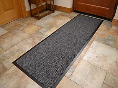 Extra Large Big Dark Light Grey Hardwearing Heavy Duty Black PVC Edge Pile Top Rubber Barrier Entrance Door Kitchen Utility Dust Floor Long Short Narrow Hall Hallway Runners Mats Rugs 60cm x 180cm - inexpensive UK rug store.