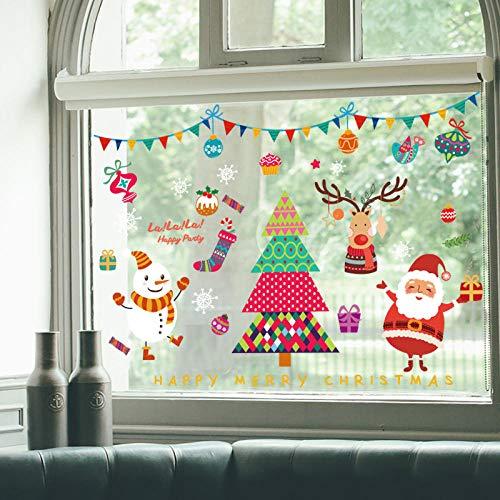 GKOO Weihnachten Wandaufkleber,Xmas Tree Santa Muster Abnehmbare Wand Aufkleber wasserdichte Neues Jahr Fenster Kunst Abziehbilder Für Kinderzimmer Home Wohnzimmer Schlafzimmer Dekoration -