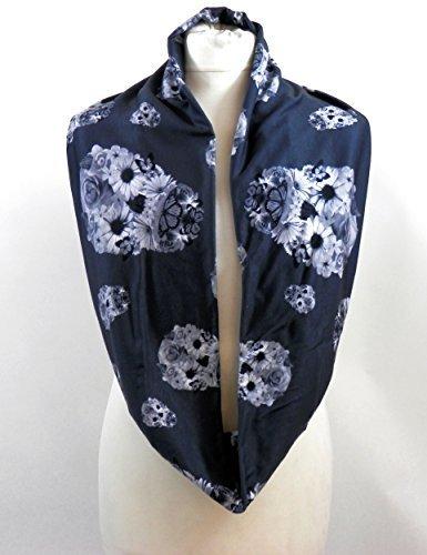 Floral Grau & Weiß Totenkopf Infinity Schal Jersey oder Chiffon Unisex Fashion Loop (Infinity Tshirt Schals)