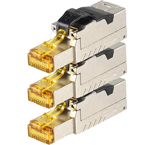 Plus Keystone Jack (1aTTack.de 3 x CAT 8 Netzwerkstecker RJ45 Werkzeuglos LAN Kabel Netzwerkkabel Patchkabel RJ45 Stecker CAT8 Crimpstecker Stecker Geschirmt Metallgehäuse 40Gbit/s kompatibel mit Cat5 Cat6 Cat7)