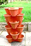 Set of 6 TRIO Stacking Plant Pots, Terracotta