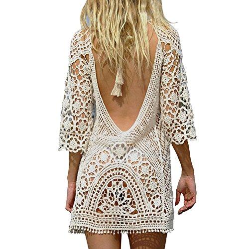 Mangotree Damen Boho Spitze Häkeln Bikini Cover Up Nackten Rücken Strandkleid Beachwear Badeanzug Sommerkleid Tunic Tops Beige