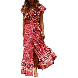 Ajpguot Vestido de Verano Mujer Impresión Maxi Vestidos de Playa Elegante Beachwear Largo Dress con Cinturón Sexy V-Cuello Manga Corta Hendidura Vestido de Partido (L, Rojo)