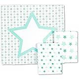 Odenwälder Moltontücher Sterne Kreise Tupfen 3er Pack 80 x 80, Design:applemint