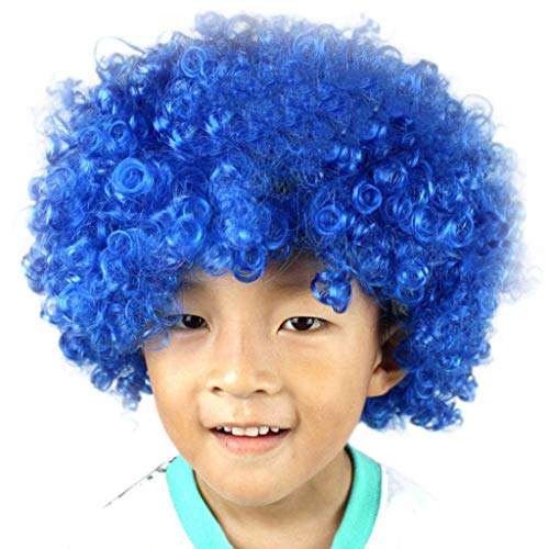Lazzboy Maskerade Haar Party Disco Lustige Afro Clown Haar Fußball Fan-Kinder Afro Perücke(M,Mehrfarbig A) (Sexy Star Wars Outfits)