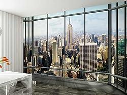 1Wall New York City Window Effect Skyline Wall Mural 3.15 x 2.32m, Wood, Blue, 1 x 315 x 232 cm