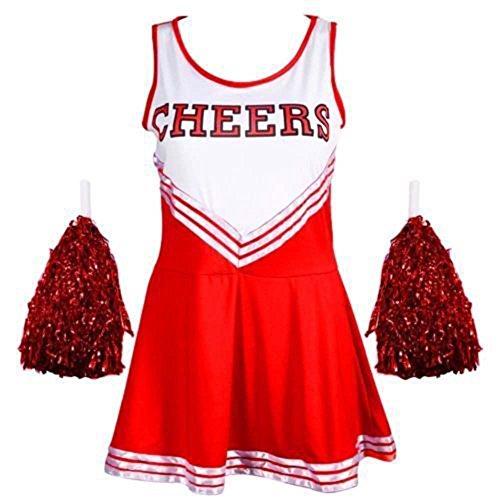 Fancy Kleid Kostüm Cheerleader Outfit Pom Poms High School Musical Mädchen UK Damen Größen