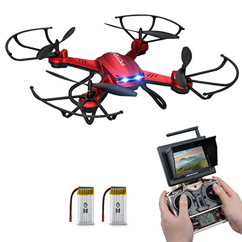 *RC Quadrocopter Potensic Drohne mit 5.8GHz 6-Achsen-Gyro 2MP HD Kamera FPV Monitor Video Live Übertragung 3D Flip Funktion- Rot*