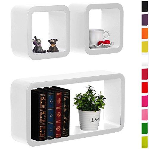 3er Set Wandregal Bücherregal Lounge Cube Regal Hängeregal MDF Holz Weiss rg9210