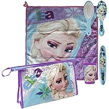 Set bolso neceser comedor Frozen Disney Sisters: toalla,cepillo,cepillo dientes,vaso
