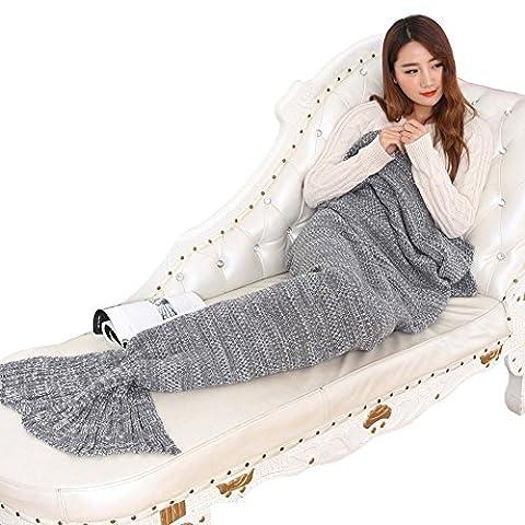 Meerjungfrau Decke Beichen weich stricken handgemachte Seejungfrau tails Blanket Wohnzimmer Schlafsäcke für Kinder und Erwachsene Mermaid Blanket (Gute Freundin Geschenke)