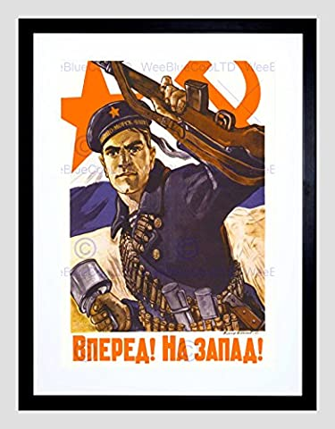 POLITICAL MILITARY USSR WAR WWII VICTORY RED NAVY FRAMED ART PRINT B12X11134