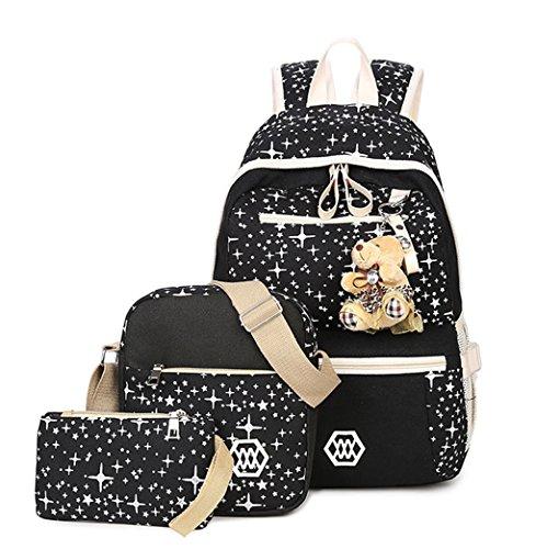 Tibes Grande toile sac à dos + Sac bandoulière mignon + Sac à crayons 3 pièces sac à dos femme noir1