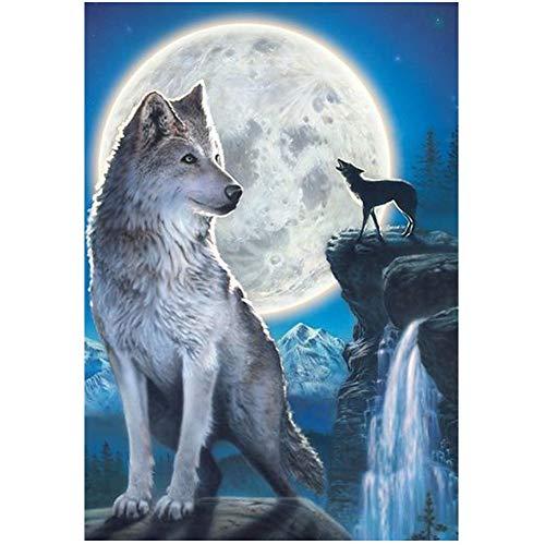 Leezeshaw 5D DIY Diamant Malen nach Zahlen Kits berühmte Strass-Stickerei Gemälde Bilder für Home Decor – Wolf 30x40cm Wolf